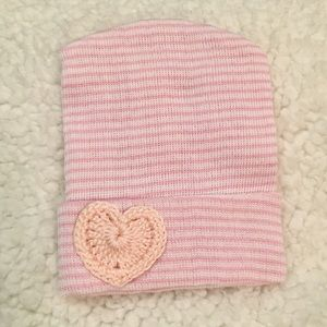 Other - .Newborn Girl Hospital PINK Beanie with HEART!!
